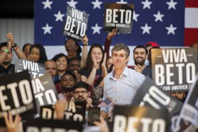Beto O'Rourke speaks at Texas Southern University in Houston Saturday, March 30, 2019 during his Presidential Campaign kick off . (Photo by Michael Stravato)