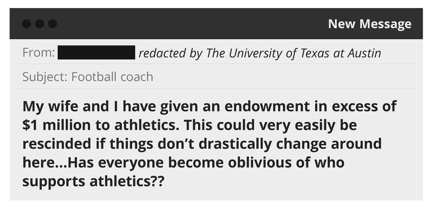 """An illustration of an email sent to UT-Austin obtained in a public records request.  """"My wife and I have given an endowmen…"""