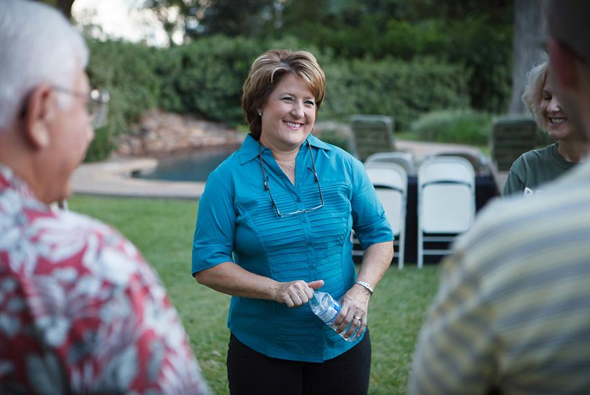 Debra Medina hosts a monthly potluck with Tea Party activists at her home in Wharton on Sept. 6, 2013. Medina is exploring a…