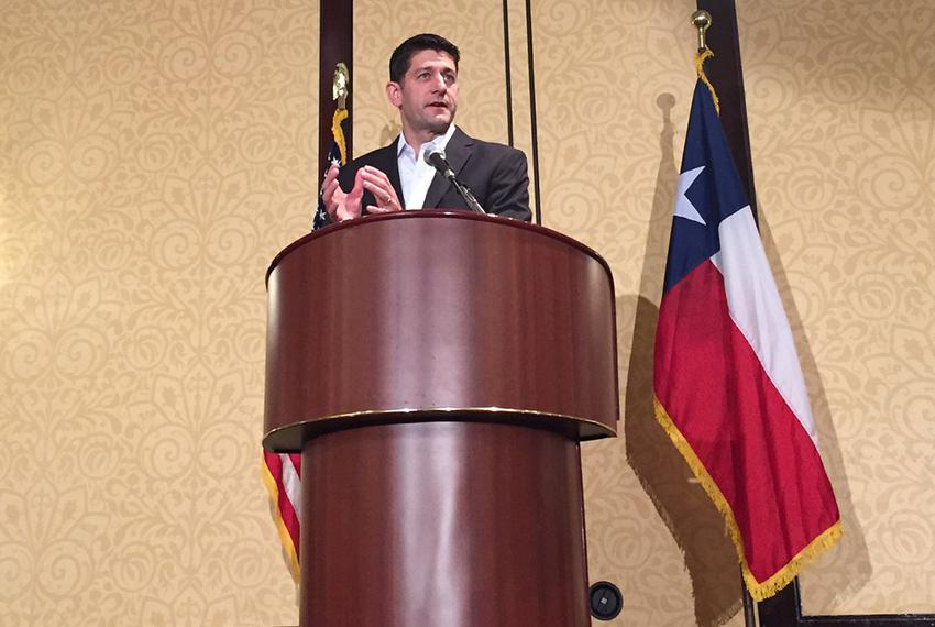 U.S. House Speaker Paul Ryan addressed the Texas delegation on  on July 19, 2016, Day 2 of the Republican National Conventio…