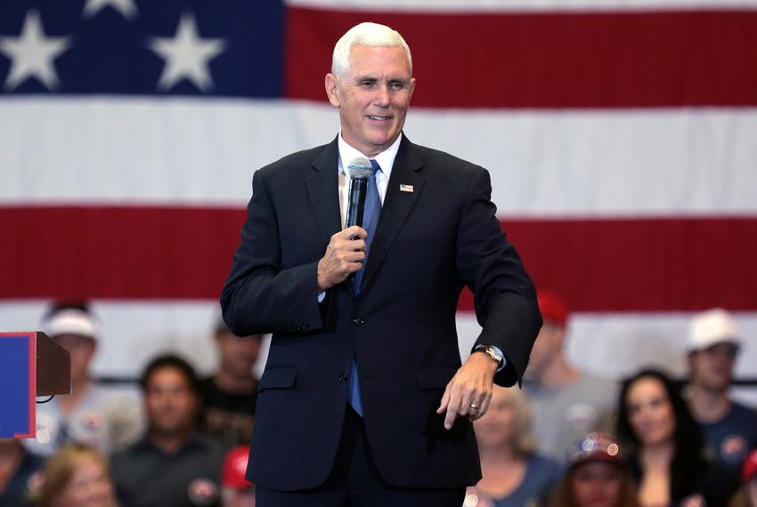Mike Pence speaking with supporters at a campaign rally for Donald Trump at the Phoenix Convention Center in Phoenix, Ariz...