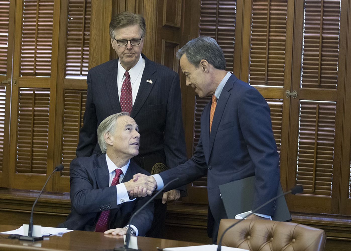 The three leaders of Texas make nice at a short Cash Management Committee meeting in the Betty King Room of the Texas Capitol on July 18, 2017, the first day of the special session.