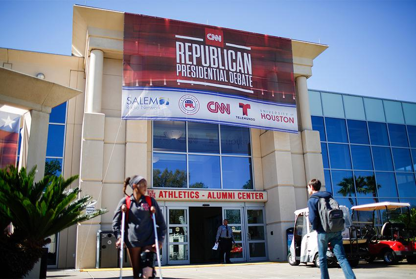 Preparations are made for the 2016 republican Presidential debate Wednesday Feb. 24, 2016 in Houston at the University of Ho…