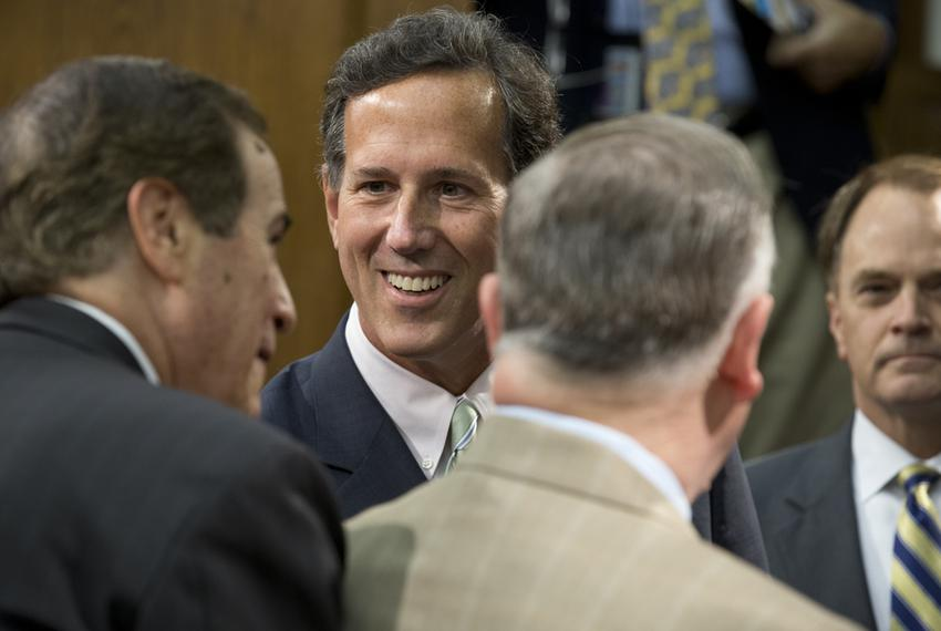 Former U.S. Sen. and presidential candidate Rick Santorum visits Texas House members on July 11, 2013.