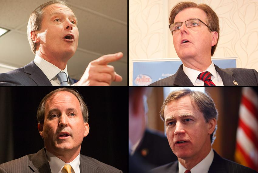 Pictured are (clockwise, from top left) Lt. Gov. David Dewhurst, state Sen. Dan Patrick, state Rep. Dan Branch and state S...