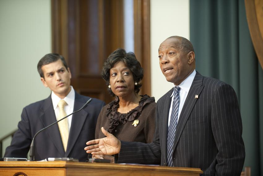 Representatives Mike Villarreal (l), D-San Antonio, Ruth Jones McClendon (c), D-San Antonio, and Sylvester Turner, D-Houston…
