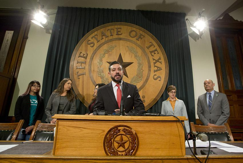 At a press conference at the Texas Capitol, state Rep. César Blanco, D-El Paso, addresses the decision taken by the Trump Ad…