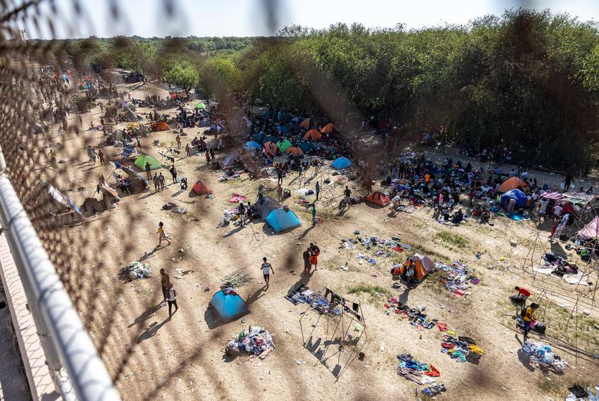 Makeshift shelters at a temporary migrant camp under the international bride in Del Rio on Sept. 17, 2021.