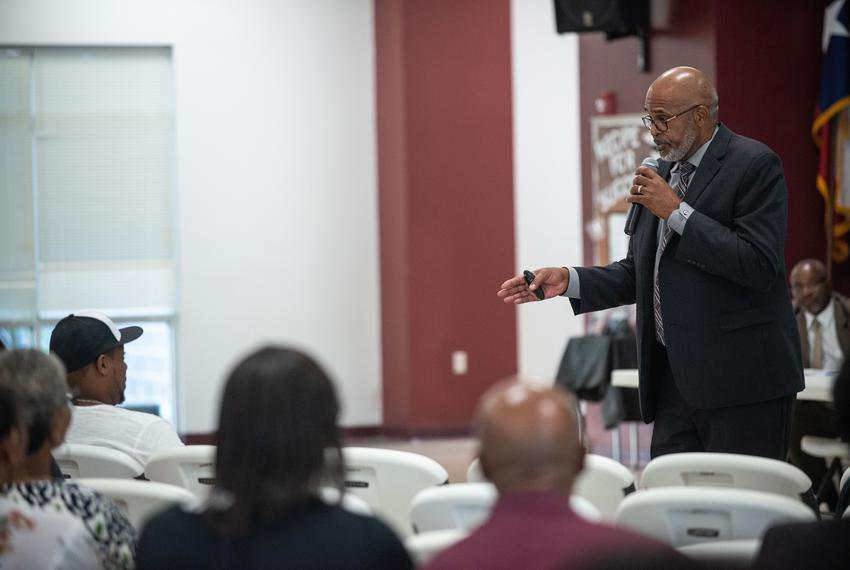 Hearne Independent School District Superintendent Adrian Johnson gives a speech to shareholders, or community members and ...