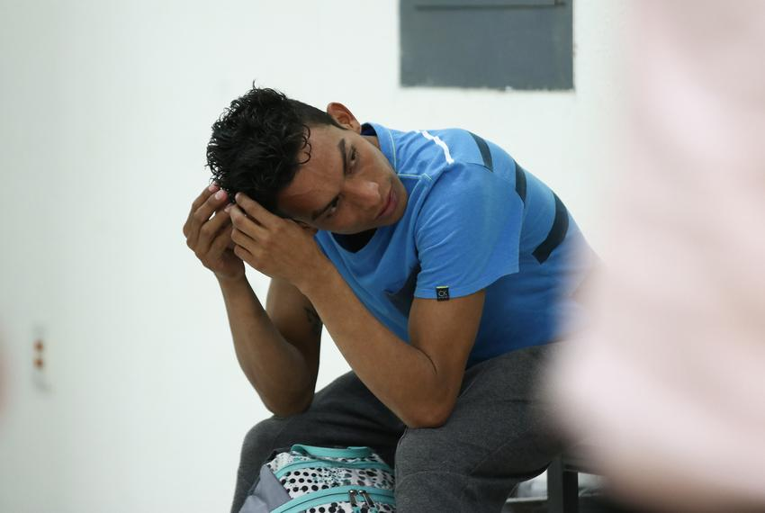 Misael Acosta waits at Ciudad Juárez's Centro de Atención a Migrantes after being returned to the Mexican border city on Apr…