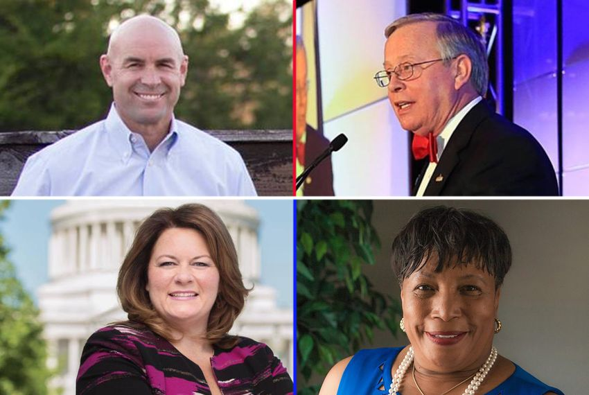 "In the race for Congressional District 6, currently held by outgoing U.S. Rep. Joe Barton, R-Ennis, both the Republican and Democratic primary races went to a runoff. Top, left to right: Republicans J.K. ""Jake"" Ellzey and Ron Wright; bottom row, left to right: Democrats Jana Lynne Sanchez and Ruby Faye Woolridge."