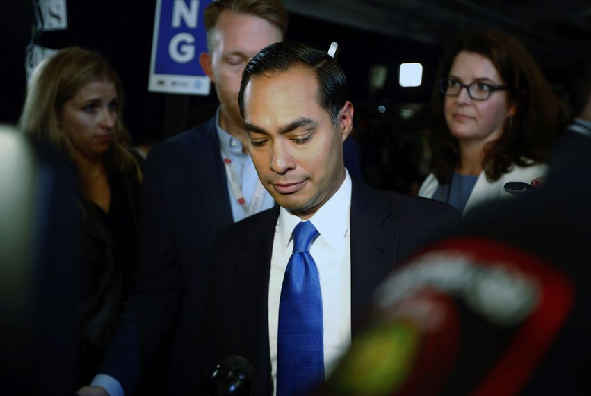 Former U.S. Housing Secretary Julián Castro makes his way through the spin room after the 2020 Democratic U.S. presidential debate in Houston.