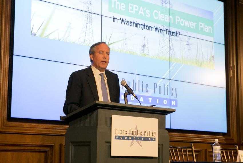 TX Attorney General Ken Paxton, speaks at event hosted by the Texas Public Policy Foundation regarding impact of the EPA's...