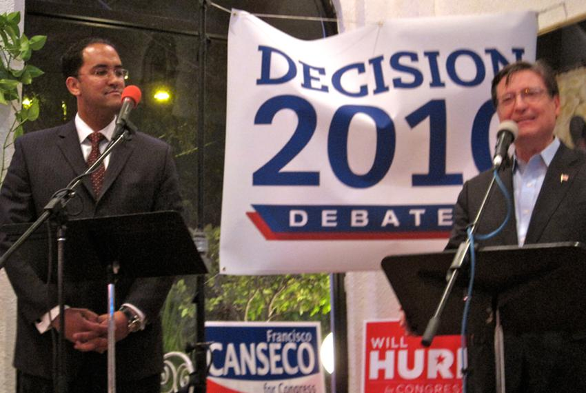 """Will Hurd (left) and Fransisco """"Quico"""" Canseco (right) at a Bexar County Young Republicans debate."""