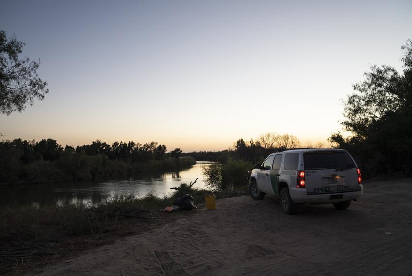 A border patrol vehicle on the banks of the Rio Grande near Villarreal's land in Rio Grande City.