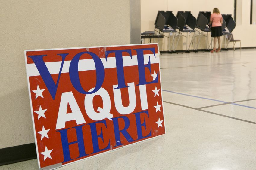 Voting precinct at the Parker Lane United Methodist Church in Austin, Texas