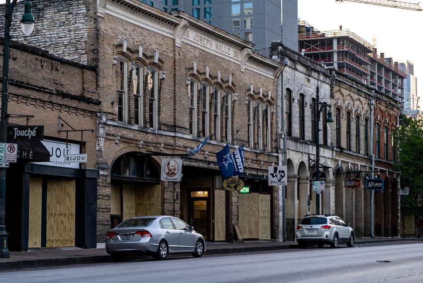 Closed businesses on Austin's Sixth Street during the coronavirus pandemic on March 19, 2020.