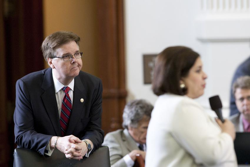Sen. Dan Patrick (l), R-Houston, listens to an amendment by Sen. Leticia Van de Putte, D-San Antonio, during the debate on...