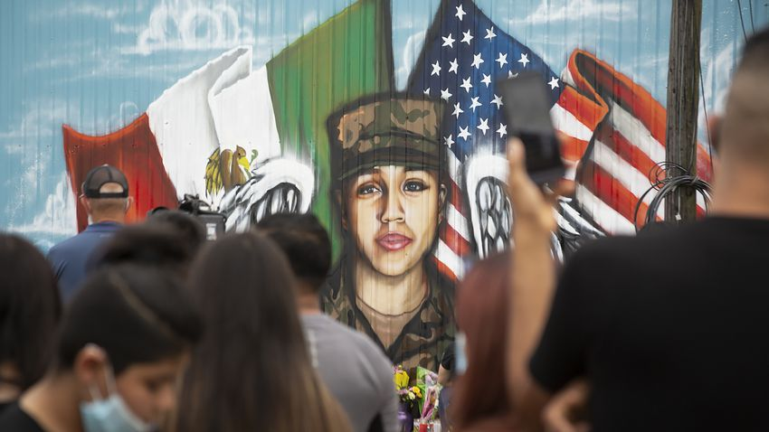 People gather outside of Power House Gym in Houston to honor Army Specialist Vanessa Guillen on July 5, 2020.