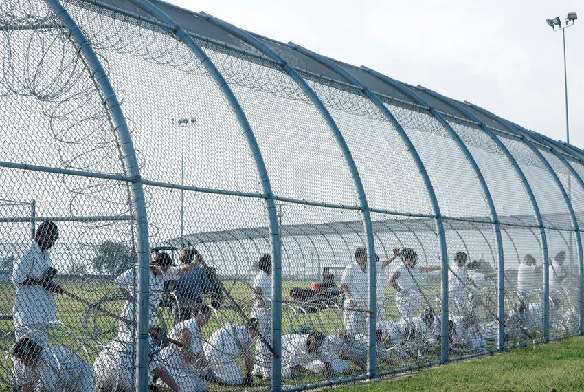Prisoners work outdoors at the Dr. Lane Murray Unit, a women's prison that's part of the Texas Department of Criminal Just...