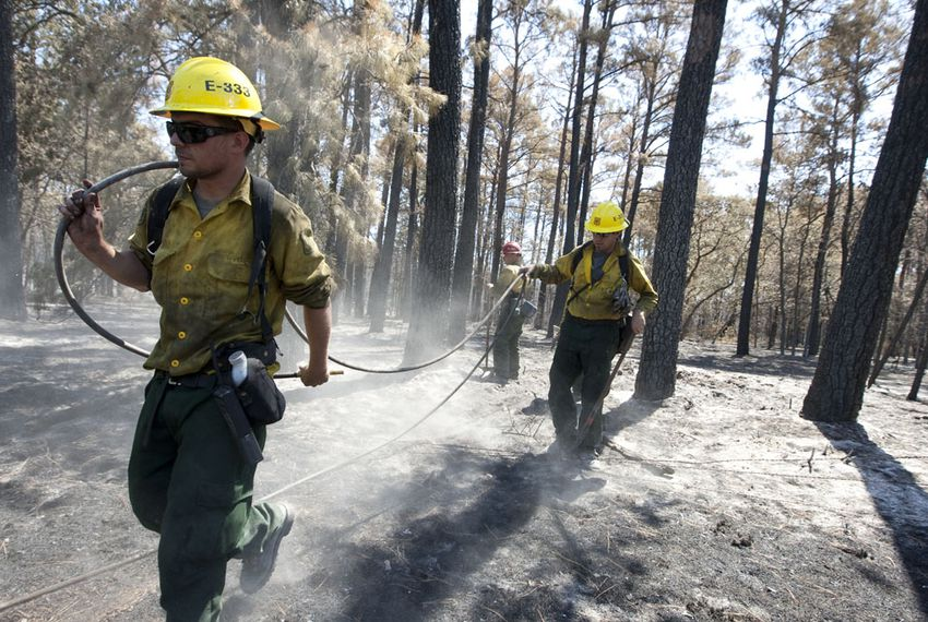 Firemen look for hot spots along Texas Highway 21 on September 13, 2011 after last week's devastating wildfires.