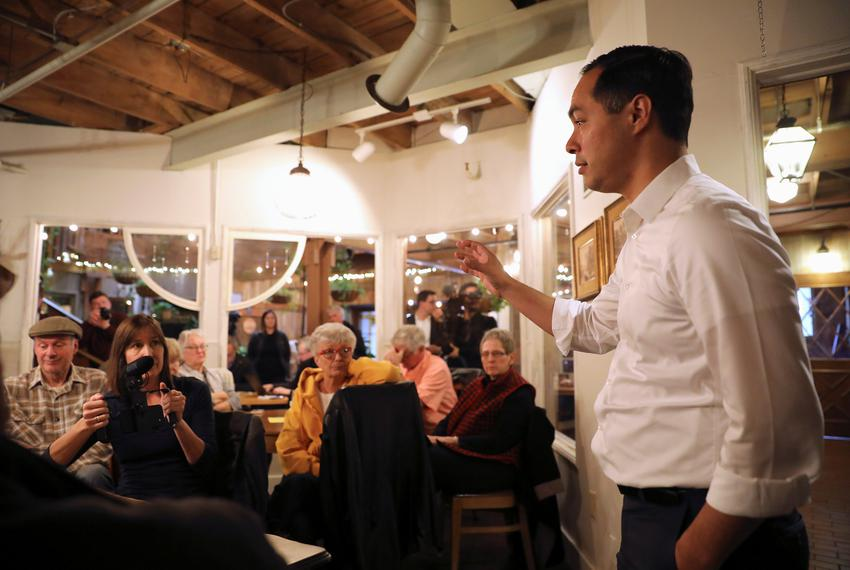 Democratic presidential candidate Julián Castro speaks during a campaign stop at The Livery Deli, in Boone, Iowa, U.S., Fe...