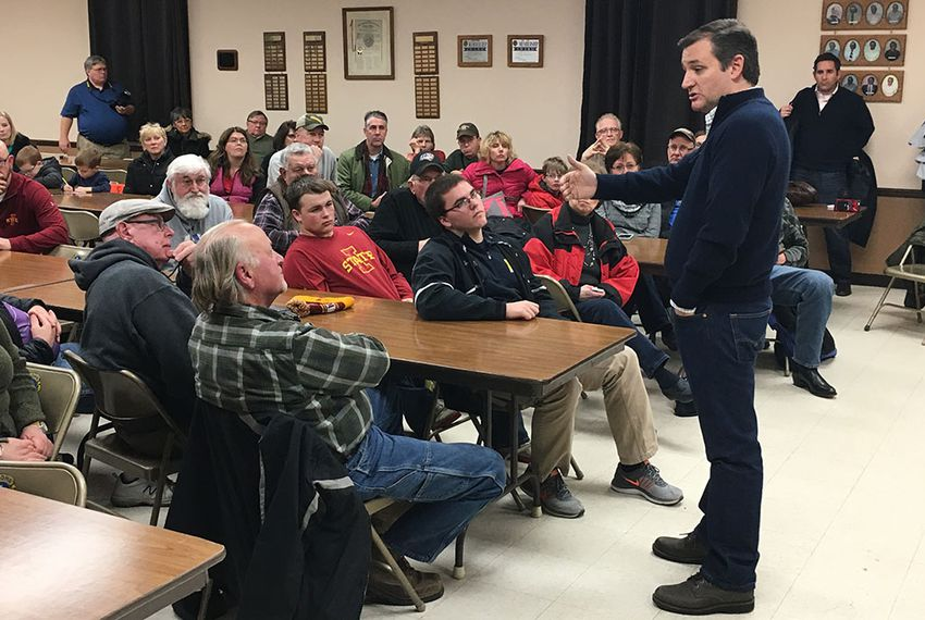 Ted Cruz speaks with Iowans on Saturday in New Hartford, a small town near Waterloo. The stop was part of the first day of the Republican presidential candidate's last swing through the state before the Feb. 1 caucuses.