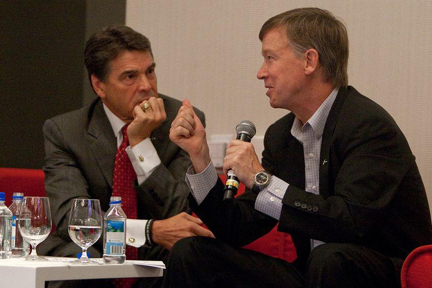 September 14th, 2012: Texas Gov. Rick Perry with Colorado Gov. John Hickenlooper, discuss economic development at the Devner Metro Chamber Leadership Foundation's 2012 Leadership Exchange in Austin, Texas