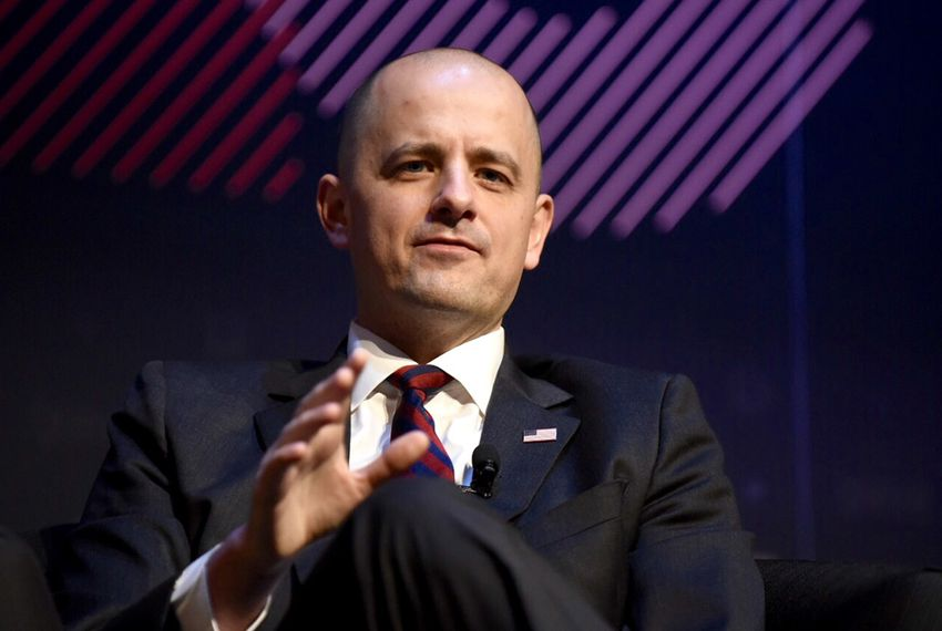 Independent candidate for president Evan McMullin is interviewed by Texas Tribune CEO Evan Smith at The Texas Tribune Festival on Sept. 25, 2016.