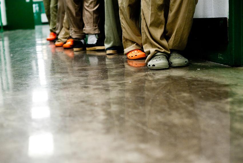 Female prisoners line up inside a state jail.