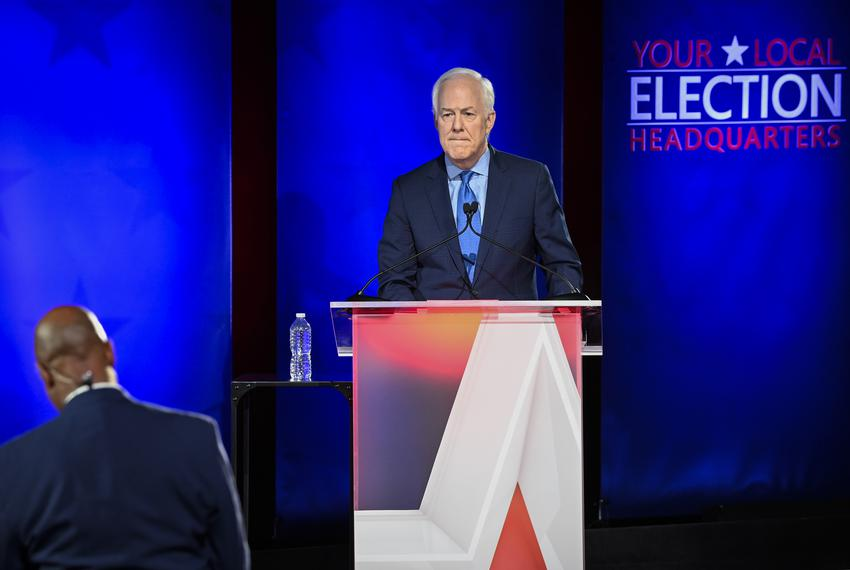 Republican U.S. Sen. John Cornyn and challenger MJ Hegar face off in a Nexstar televised debate on Oct. 9, 2020, at the Bull…