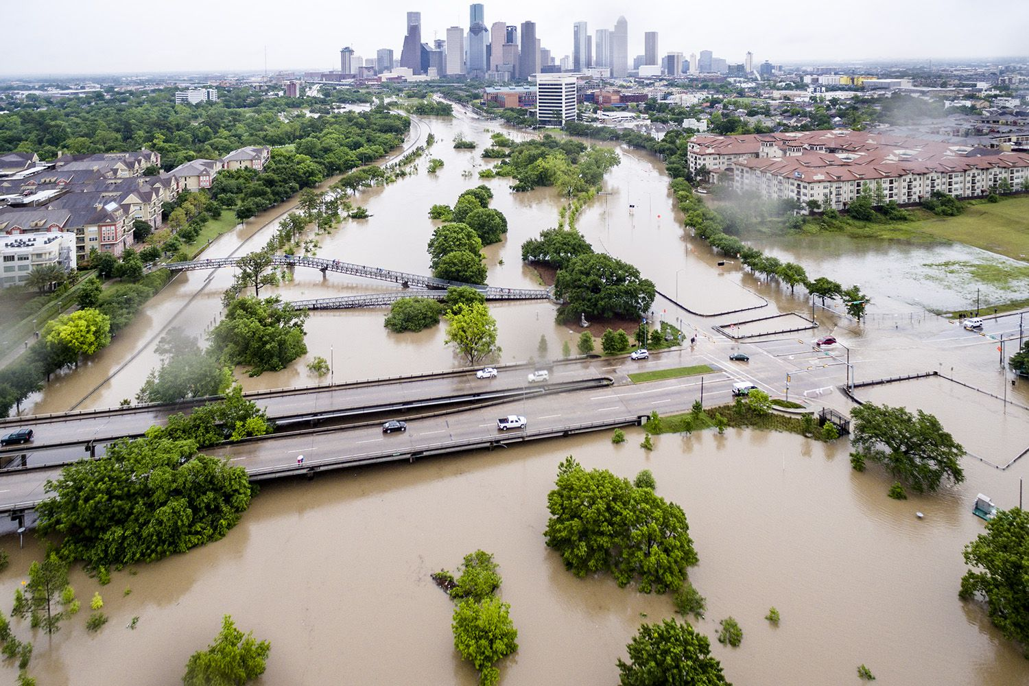 """Aerial shot of downtown Houston from the Montrose neighborhood during the """"Tax Day Flood"""" on April 18, 2016."""