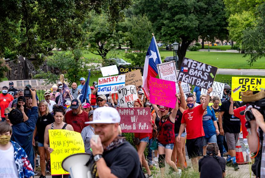 Texas bar owners and workers protest at the Capitol in Austin on June 30, 2020.