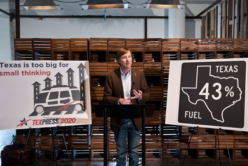 Democratic gubernatorial candidate Andrew White announces his plan to add one million Texan jobs at Impact Hub in Austin on April 3, 2018.