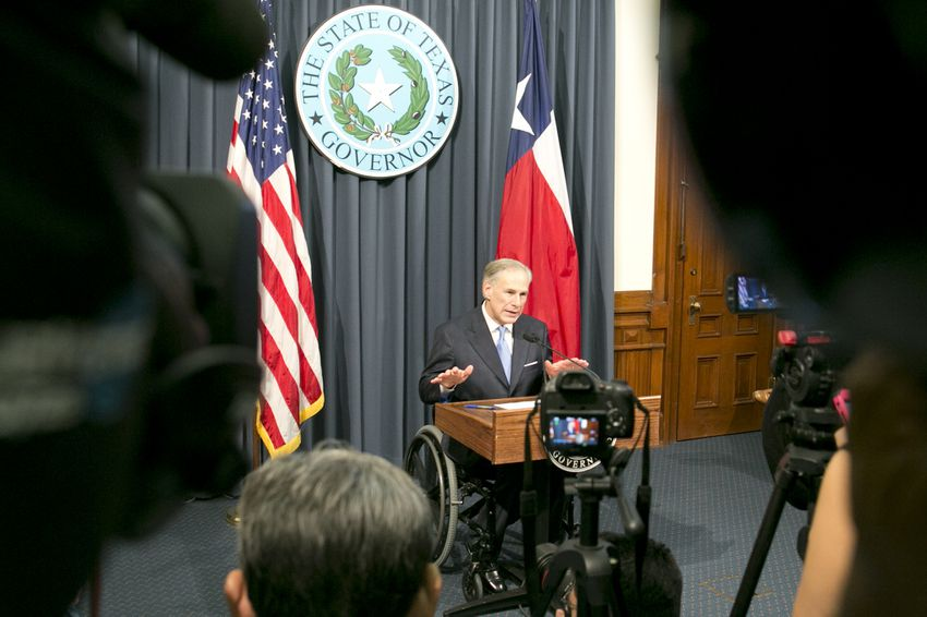 Gov. Greg Abbott lays out items for a special session at a press conference on June 6, 2017.