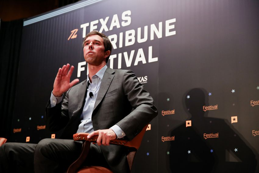 U.S. Rep. Beto O'Rourke, D-El Paso, discusses his Senate bid against incumbent Ted Cruz with Tribune CEO Evan Smith at The Texas Tribune Festival on Sept. 23, 2017.