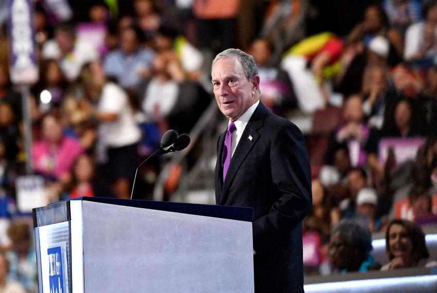 Former New York mayor Michael Bloomberg speaks during the 2016 Democratic National Convention at Wells Fargo Center on Jul...