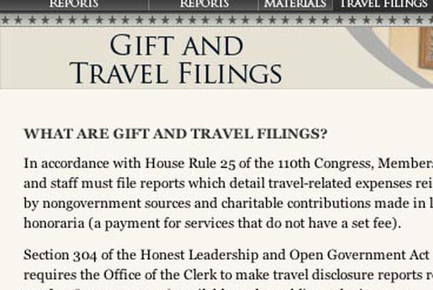 U.S. House travel disclosure Web site.