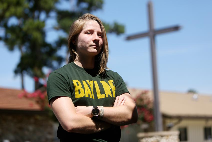 Baylor senior Anna Conner in Cypress on June 12, 2019. Conner's campus LGBT organization, called Gamma Alpha Upsilon, or G...