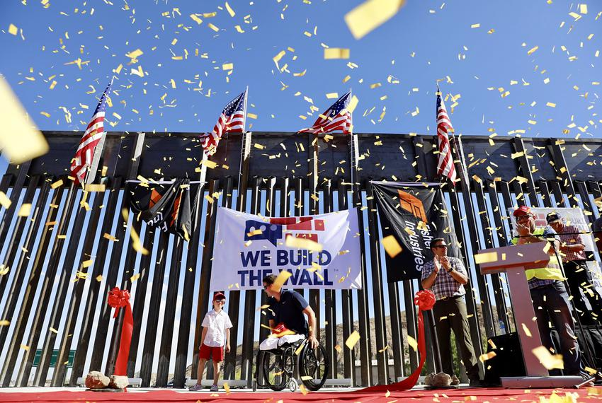 A portion of the border wall built by We Build The Wall, a private group that raised money through a GoFundMe account, on pr…