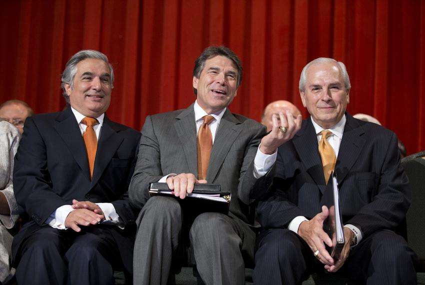 Dr. Francisco Cigarroa, Gov. Rick Perry and UT Board Chairman Gene Powell celebrate the merger at UT-Pan American on July 16…