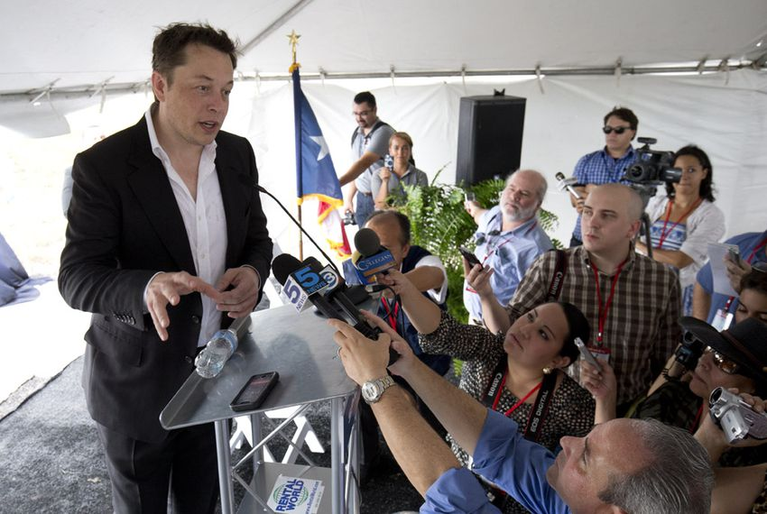SpaceX CEO Elon Musk at the groundbreaking of the company's launch site near Boca Chica Beach in South Texas on Sept. 22, 2014.