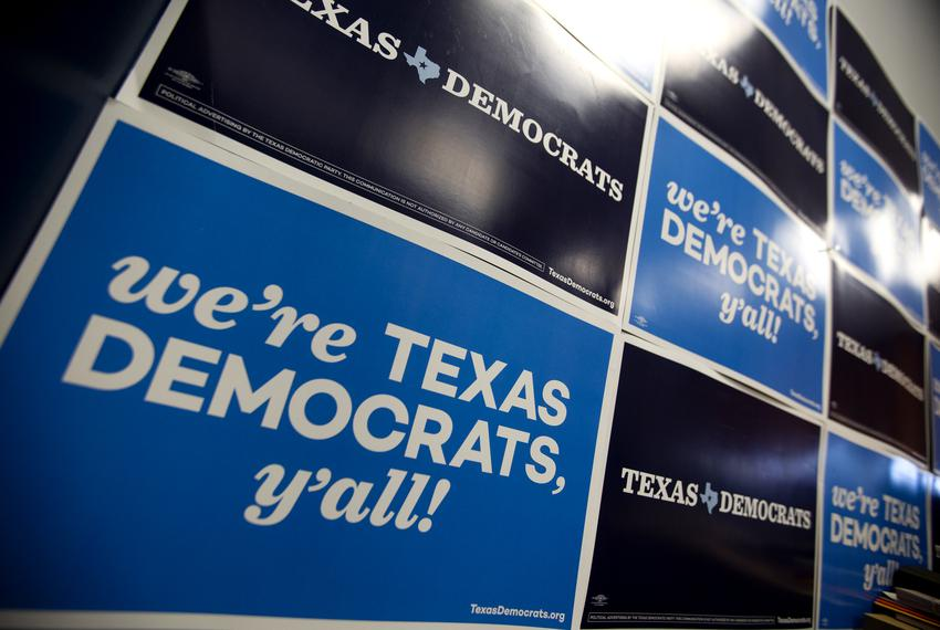 Democratic Party signage and logos at the Texas Democratic Party office in Austin.