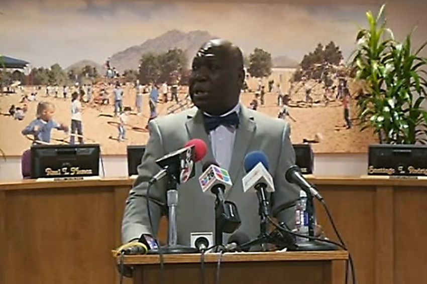 Texas Education Agency commissioner Michael Williams announces at a press conference that he is stripping all authority from the El Paso Independent School District Board of Trustees. The move comes in the wake of a cheating scandal that landed the former superintendent in federal prison.