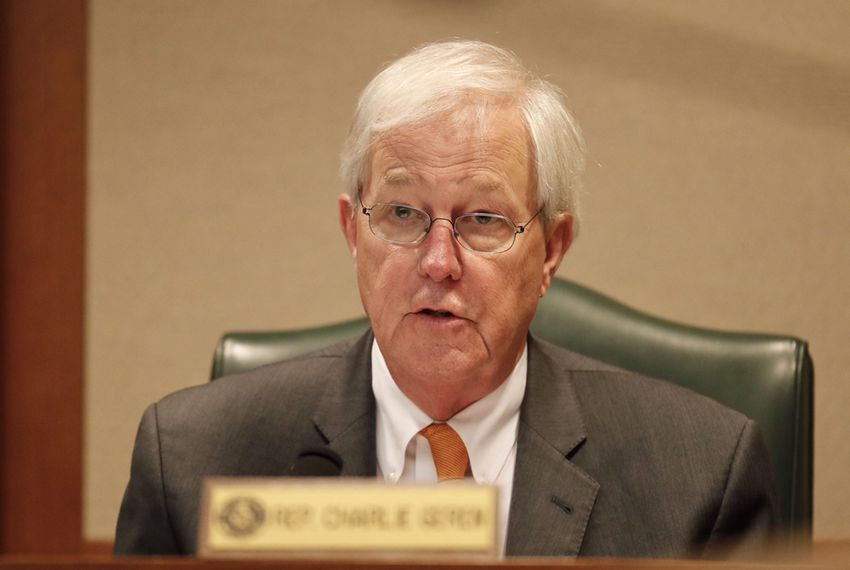 "State Affairs Committee member Rep. Charlie Geren, R-Fort Worth, at the hearing on Senate Bill 4, the ""sanctuary cities"" bill, on March 15, 2017."