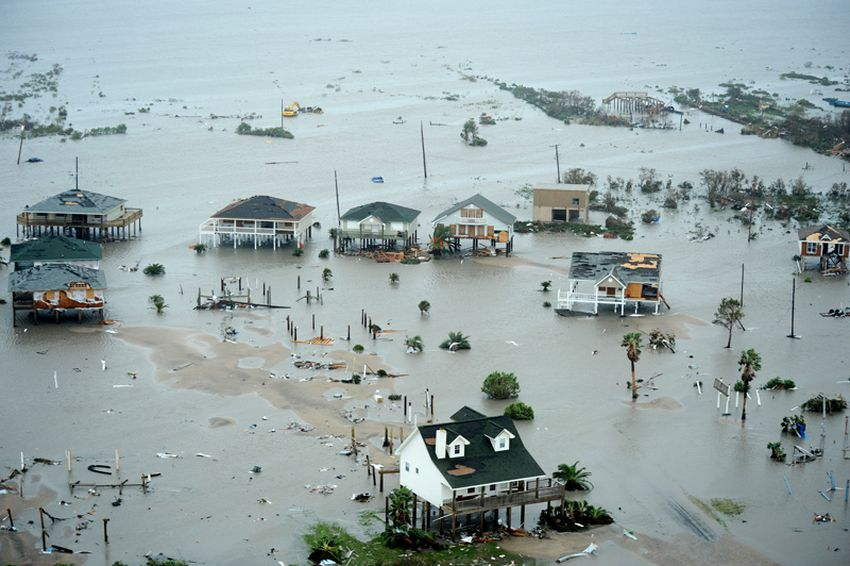 U.S. Air Force member conducted search and rescue operations on Galveston Island after Hurricane Ike on Sept. 13, 2008.