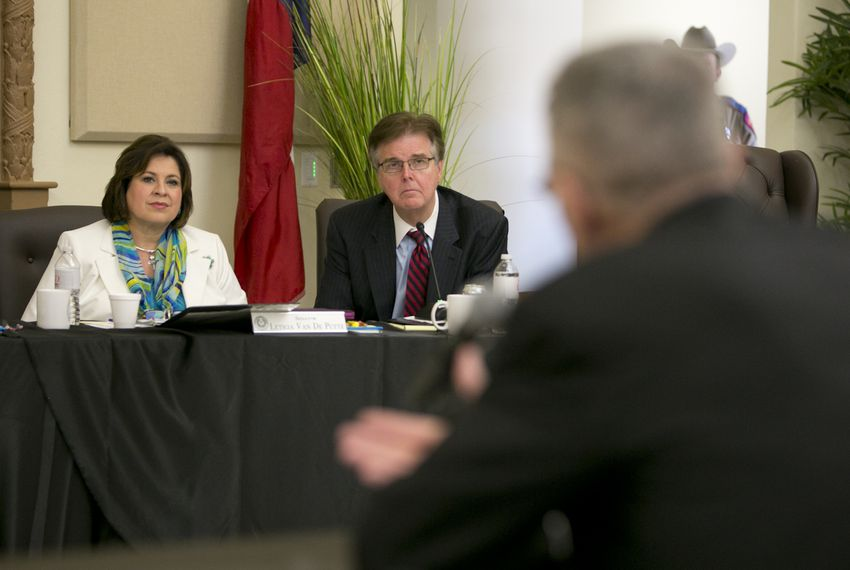 State Sen. Leticia Van de Putte, D-San Antonio, and state Sen. Dan Patrick, R-Houston, during a legislative committee hearing on human trafficking in La Joya on July 24. Both senators are candidates for lieutenant governor.