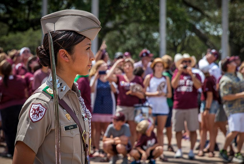 The Texas A&M Corps of Cadets participates in game day activities prior to the Sept. 3 football game against UCLA.