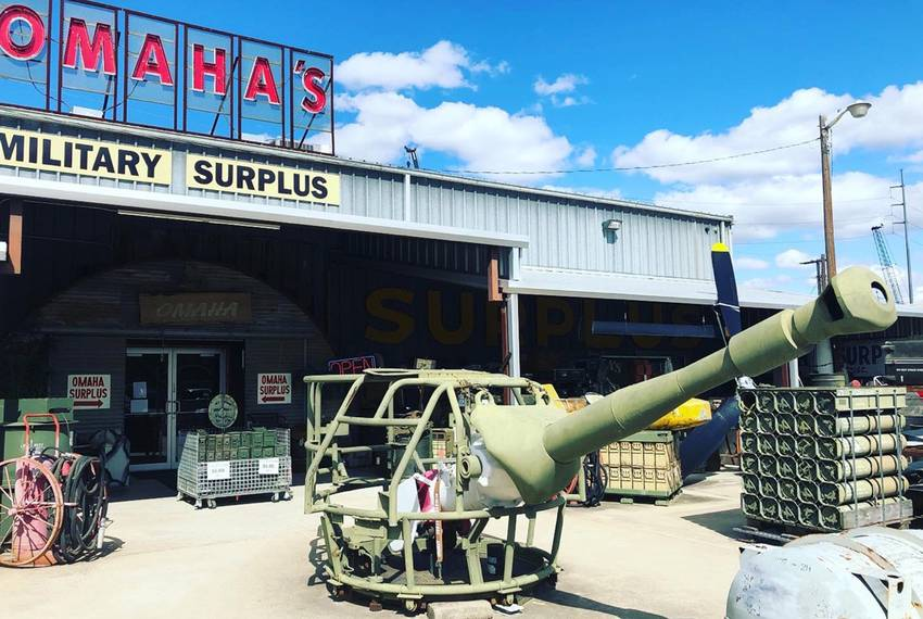 The back entrance of Omaha Surplus, a military supply store that has lost business due to the construction for the Panther...