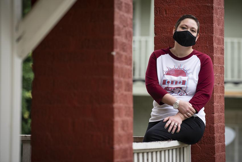 Stevie Smith, 36, outside of her apartment in Fort Worth. Smith's health insurance was discontinued March 31st.